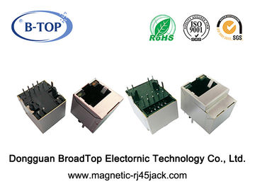 Female Magnetic RJ45 Connector , RJ45 Lan Jack Single Port Vertical 180 Degree