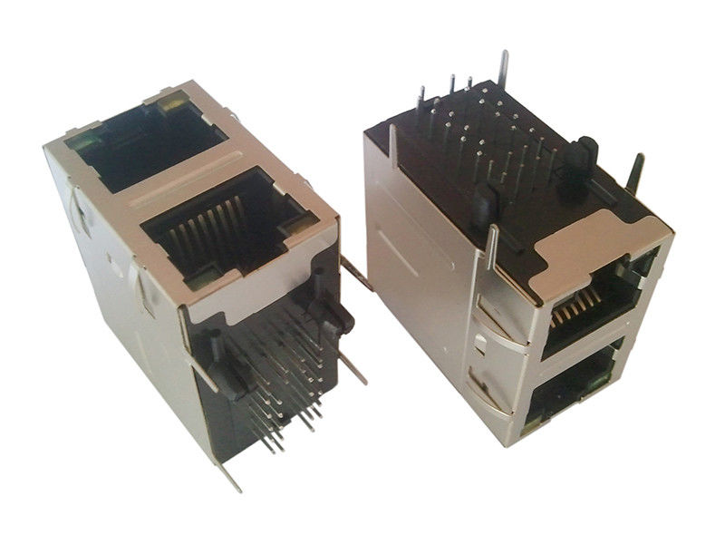 High Performance RJ45 Dual Connector , PCB RJ45 Jack With Gigabit Filters