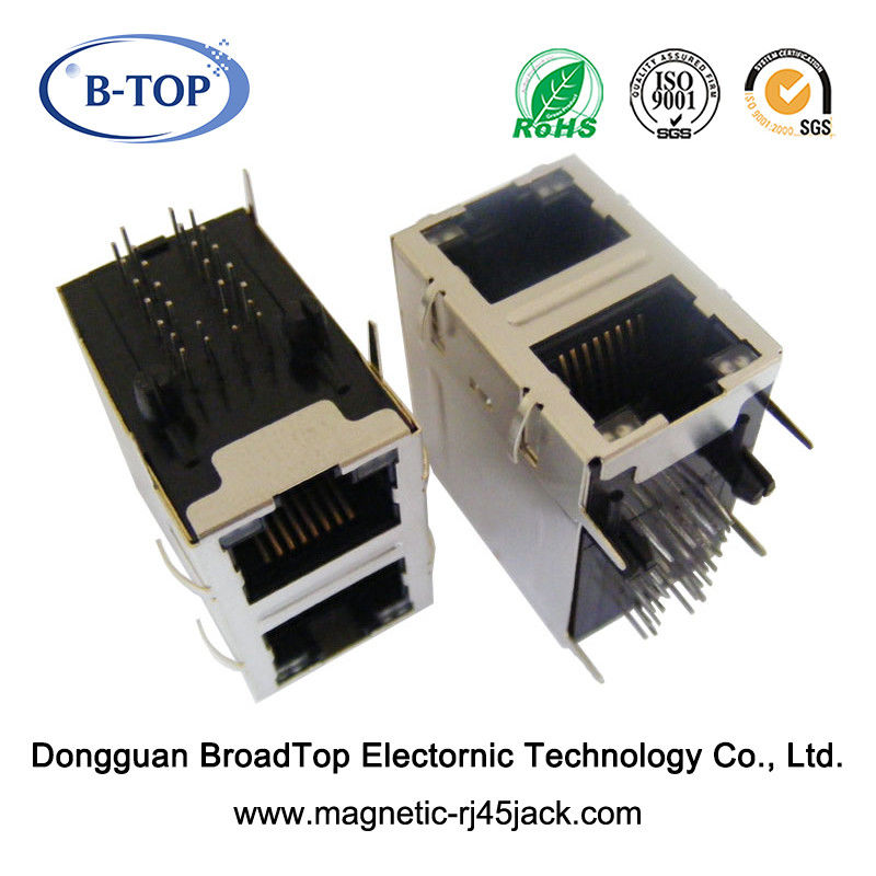 Dual Port Magnetic RJ45 Jack 1 - 1.5A High Performance With Bicolor LEDs