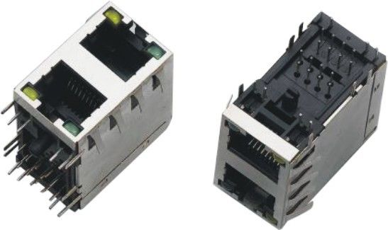 2x1 Dual Port RJ45 Connector , RJ45 Through Connector AC 1500Vrms 50Hz Withstand Voltage